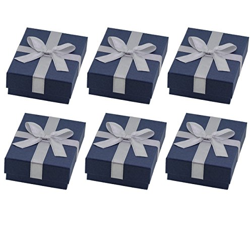 Accessories Jewelry Bow (Elegant Blue Cardboard Jewelry Gift Box with a Silver Ribbon Bow (Pack of 6))
