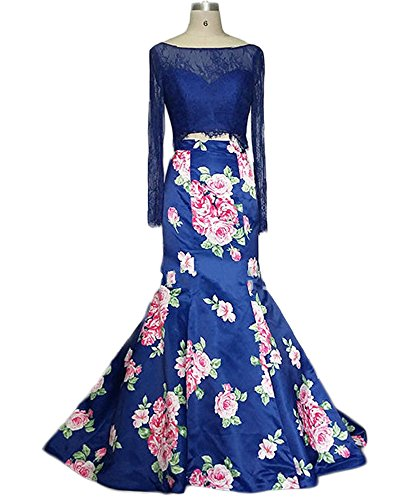 Lisa Two Pieces Prom Dresses With Long Sleeve Beading embroidery Gown LS073