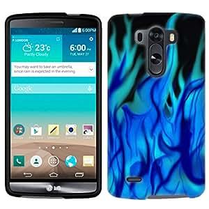 LG G3 Mini Ice Blue Flames on Black Phone Case