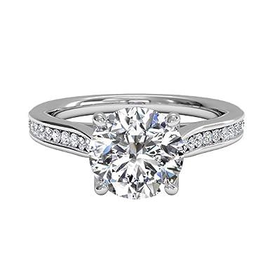YL Diamond Wedding Ring 9ct White Gold 0.5ct Moissanite Engagement Wedding Ring for Bride Women oyIBzgJYS5