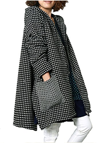 Olrain Women's Winter Jacket Checked Hooded Parka Coats with Pockets Black Medium (Women Korean Coats)