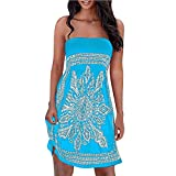 KYLEON Women Mini Dress Boho Sleeveless Strapless Lady Floral Casual Sundress Loose Summer Beach Cover-ups Dress Sky Blue