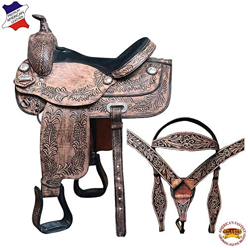 HILASON 16″ Western American Leather Draft Horse Saddle Trail Pleasure