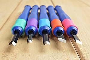 Conjunto / Set para Xilografía japonés Sakura, 5 formones / escoplos / cuchillos para grabar en madera, longitud 14,5cm (hoja 2cm), mod. Eht-5A