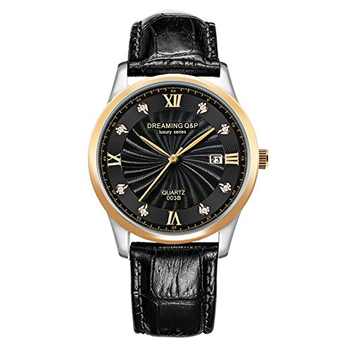 Date Diamond Wrist Watch - DREAMING Q&P Mens Analog Quartz Watches Male Business Wristwatch with Black Soft Leather Date Calendar