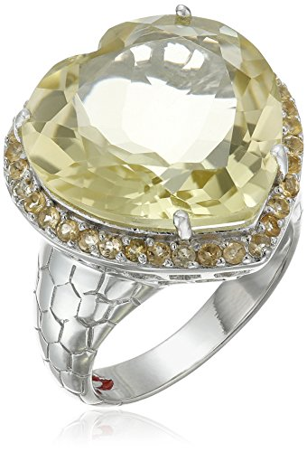 Lemon Citrine Ring (Lemon Quartz Heart Ring with Citrine Accents Ring, Size 7)