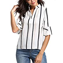 Anxinke Women Fashion Stripe Half Sleeve Casual Henly Shirts Top