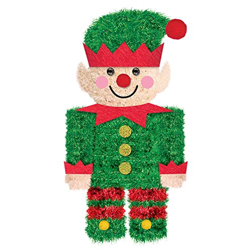 "amscan 241913 3D Christmas Mini Tinsel Elf, 6.5"" x 3.5"", 1ct"