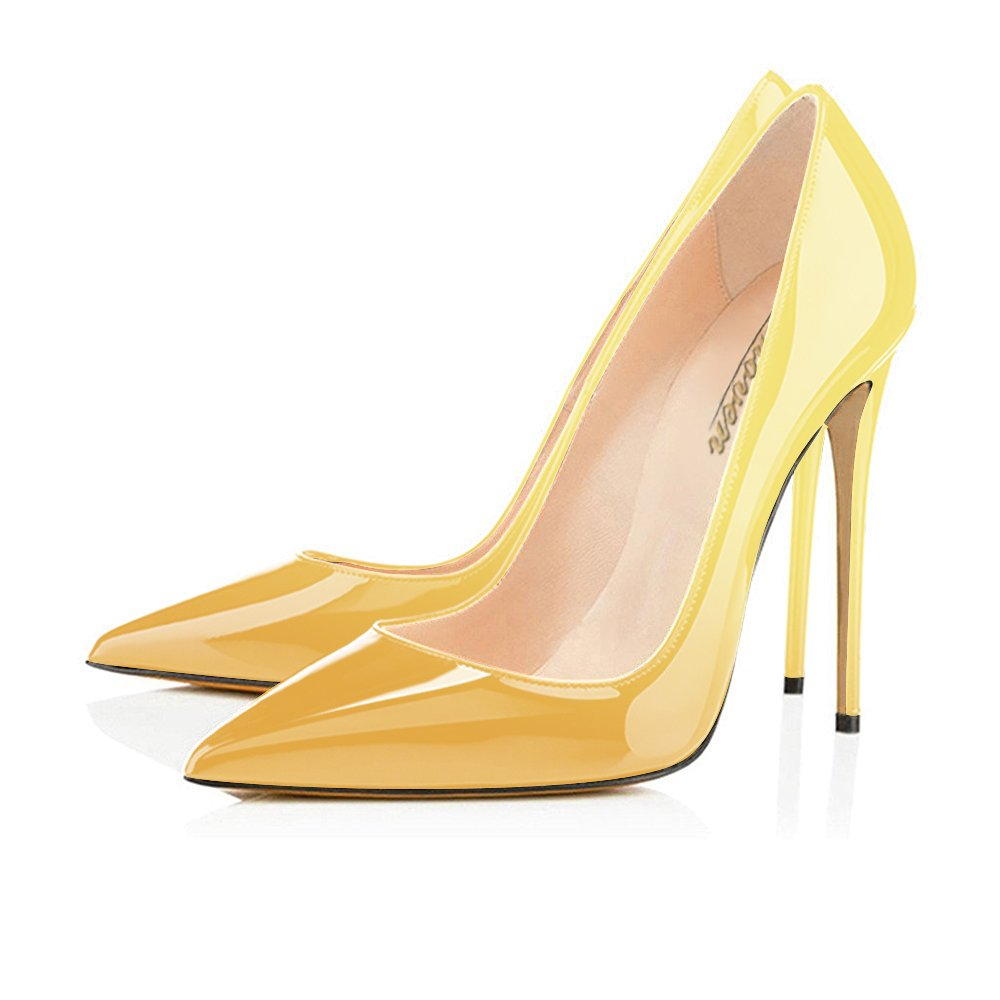 Modemoven Women's Pointy Toe High Heels Slip On Stilettos Large Size Wedding Party Evening Pumps Shoes B07256G9T4 13 B(M) US|Yellow