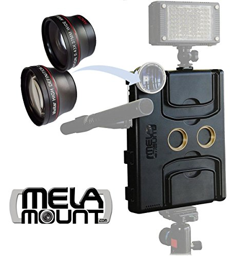 Melamount MM-IPAD PRO 9.7 Video Stabilizer Pro Multimedia Rig for Apple iPad PRO 9.7 And iPad AIR 2 + Lens Set 37mm TELEPHOTO & 37mm WIDE ANGLE by MELA MOUNT
