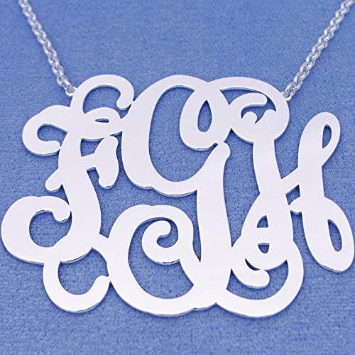 Extra Large 3 Initials Monogram Necklace Silver 2.5 Inch Monogrammed Pendant Jewelry - Silver Monogram 2.5 Inch