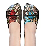 Stained Glass Church Window Stained Glass Women's No Show Low Cut Casual Ankle Socks