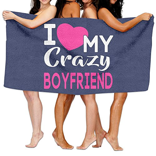 JTCY I Love My CRAZY BOYfriend Bath Towels Beach Towels Swim Towels Adults Soft Absorbent