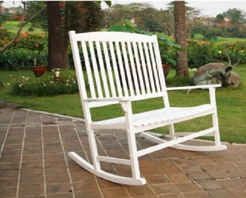 Mainstay Outdoor Seats 2 Porch Double Rocker Rocking Chair White Wood White