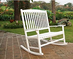 Amazon.com : Outdoor Seats 2 Porch Double Rocker Rocking Chair White ...