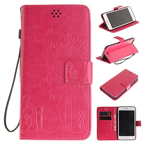 iPhone SE Case Apple iPhone 6SE Flip Wallet Case,Bat King Dandelion Witness Love[Kickstand]Leather Wallet Flip Stand Cover with Strap for Apple iPhone 6SE 4 inch(Didn't fit iPhone 6/6s)(Hot Pink)