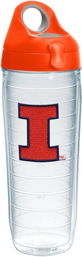 Tervis Illinois Fighting Illini Logo Insulated Tumbler with Emblem and Orange Lid, 24oz Water Bottle, Clear