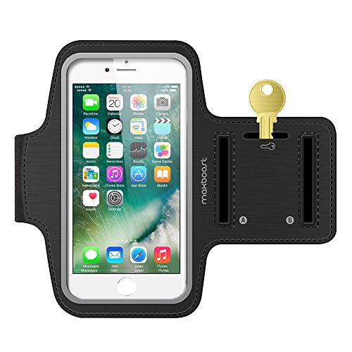 Maxboost Armband [Original] Compatible with Small Phone & iPhone X 8 7 6 6S SE, Galaxy S9 s8 S7, LG,HTC,Nokia [Water Resistant] Universal Exercise Sports Running Pouch Key Holder + Fit Most Case