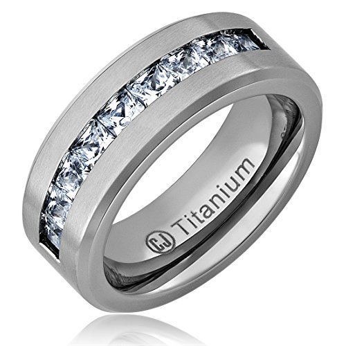 8MM Titanium Promise Engagement Rings for Men | Wedding Bands for Him | Princess Cut Cubic Zirconia [Size 11]