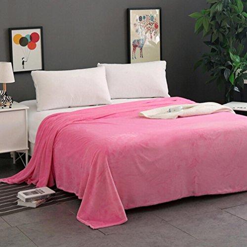 Flannel Fleece Luxury Blanket,SMYTShop Lightweight Cozy Plush Microfiber Super Soft Warm Solid Blanket Throw Rug Sofa Bedding (27 by 39 Inch, Pink) (Fleece Fabric Throw Blanket)