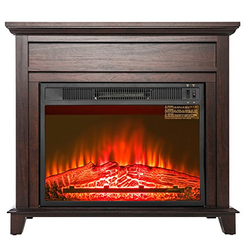 Golden Vantage 32″ Freestanding Brown Wood Finish Electric Fireplace Stove Heater