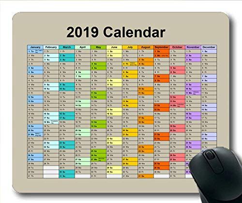 (2019 Calendar Mouse pad Keyboard,Calendar Year Gaming Mouse pad,Calendar Planner 2019 with Holiday Details)