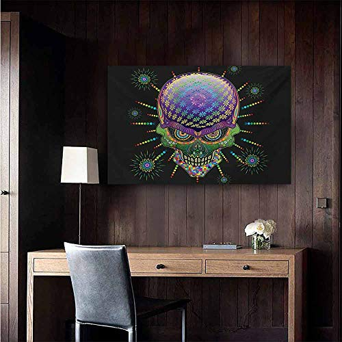 (duommhome Psychedelic Light Luxury American Oil Painting Digital Mexican Sugar Skull Festive Ceremony Halloween Ornate Effects Design Home and Everything 24