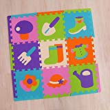 RXIN Kids Foam Play Mat Children's Puzzle Thick 1cm Crawling pad Long Edges Climbing pad Stitching Foam Baby Play mat Interlocking Puzzle