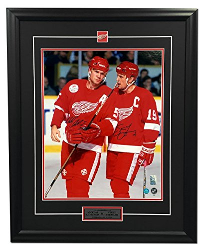 Dual Wing (Steve Yzerman & Nicklas Lidstrom Detroit Red Wings Dual Signed 25x31 Frame - Autographed NHL Photos)