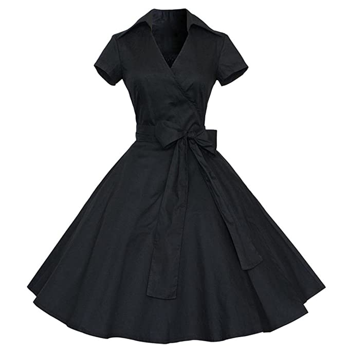 789a55152a7b8 JYC Vintage Dress 50S 60S Swing Pinup Retro Casual Housewife Party Ball  Boatneck Sleeveless Vintage Tea Dress with Belt