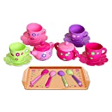 Marian Plastic Tea Party Set - Tea Set for Little Girls, BPA Free, Kids Tea Set for Gross Motor Development