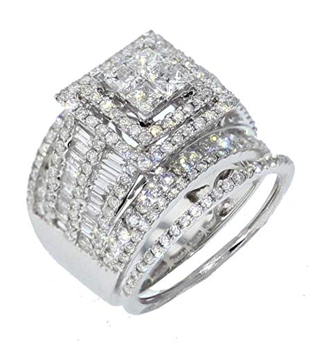 Midwest Jewellery 14K White Gold Extra Wide Bridal Set Princess Cut Baguette and Round Diamonds 3.00CTW (7)