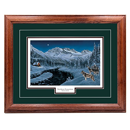 (Northern Promotions, LLC. Winter Glow - Andrew Kiss, Wolves in Winter and Nature Wall Art Print for Home/Office/Hotel/Cabin/Gift, Framed 30 x 40 in, Green Mat/Dark Oak Frame - More Frames Available )