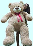 Big Plush Giant Teddy Bear 5 Feet Tall - Custom Personalized Your Name or Message Imprinted on Bears Neck Ribbon Bow - Tan Color with Bigfoot Paws Giant Stuffed Animal Bear