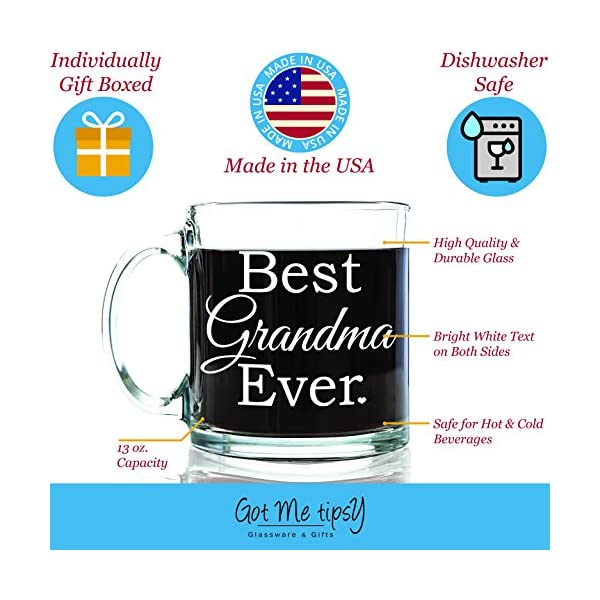 Best Grandma Ever Glass Coffee Mug 13 Oz Top Birthday Gifts For Unique Gift Her Novelty Christmas And Grandparents Day Present Idea