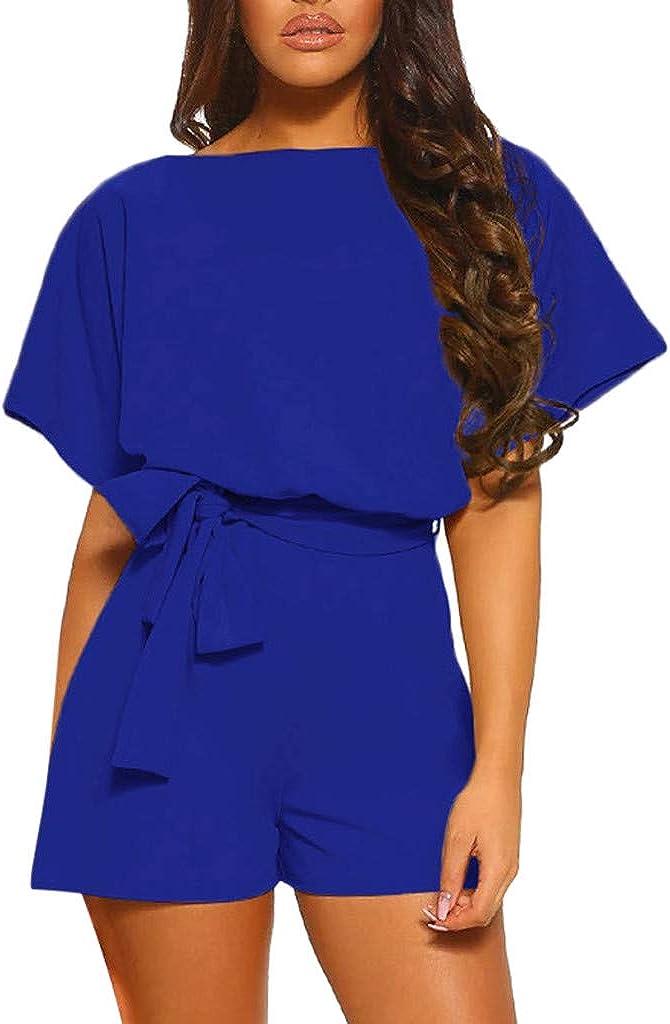 Women Rompers Casual Loose Solid Color Short Sleeve Front Knot Belt Keyhole Back Jumpsuit