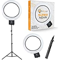 Diva Ring Light Super Nova 18 Dimmable w/6 Stand - Professional Studio Lighting Kit for YouTube, Facebook Live, Twitch, Photography, and Beauty Blogging