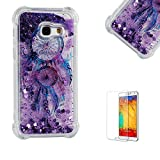 Funyye Crystal Rubber Case for Samsung Galaxy A320,Luxury Glitter Sparkly Quicksand Purple Dream Catcher Design Slim Transparent Case for Samsung Galaxy A3 2017,Ultra Thin Soft Flexible Silicone Gel TPU Bumper Back Cover Case for Samsung Galaxy A320/A3 2017 + 1 x Free Screen Protector