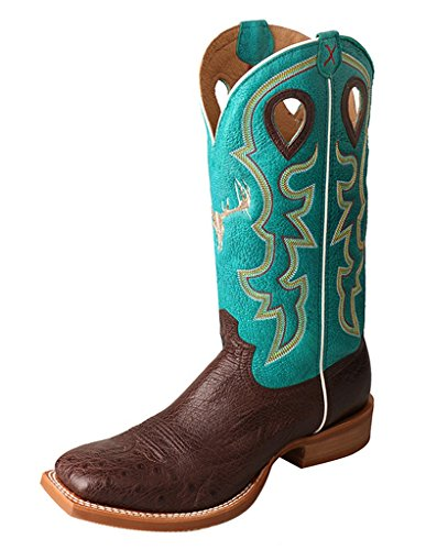 - Twisted X Men's Ruff Stock Boot, Color: Tobac Smooth Ostrich/Turquoise, Size: 7.