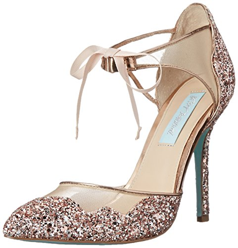 Blue by Betsey Johnson Women's stela Dress Pump, Champagne Glitter, 6 M US (Betsey Johnson Tie)