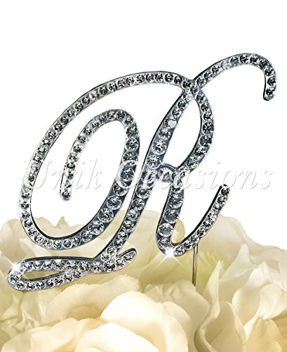 (Victorian Collection Monogram Rhinestone Cake Topper - Large - Silver (4.75