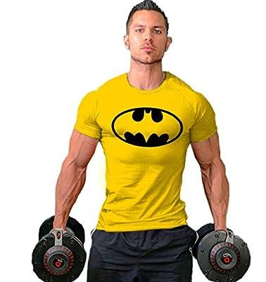 Mens Sports T-shirts Printing Batman Design Fitness Bodybuilding