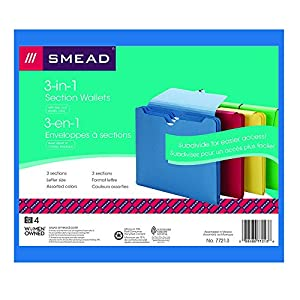 Smead Section Wallet, 2 Dividers, Flap with Elastic Closure, Letter Size, Assorted Colors, 4 per Pack (77213)