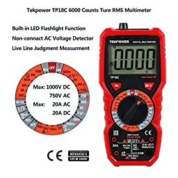 Tekpower TP18C General Purpose Manual-ranging True RMS AC/DC 20A Digital Multimeter with Non-contact Voltage Detector (NCV), Live Wire Tester & Flashlight