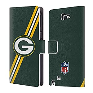Official NFL Stripes Green Bay Packers Logo Leather Book Wallet Case Cover For Samsung Galaxy Note 2 II N7100