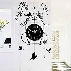 Metal Bird Pendulum Wall Clock, Living Room Decorative No Ticking Sound Mute Pendulum Clock Modern Simple Quartz Clock-Black 70x36cm(28x14inch)