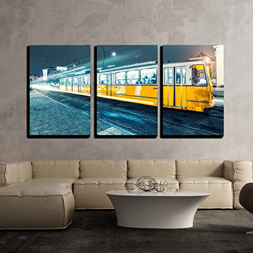 - wall26 3 Piece Canvas Wall Art - Old Tram in The City Center of Budapest, Old Tram at Train Stations - Modern Home Decor Stretched and Framed Ready to Hang - 24