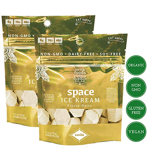 - Seva Foods 2-Pack Organic Vanilla Space Ice Kream (Healthy Freeze Dried Astronaut Ice Cream) Vegan Non Dairy, 3 oz Total Weight - 20 Pieces