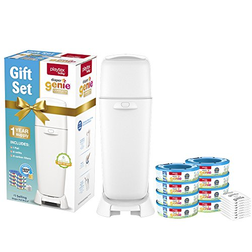 Playtex Diaper Genie Baby Registry Gift Set, Includes 1 Diaper Genie Complete Diaper Pail, 8 Diaper Genie Refills and 8 Diaper Genie Carbon Filters for Odor Control ()