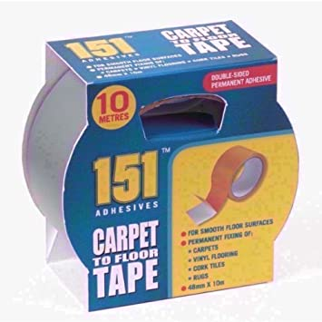 DOUBLE SIDED CARPET TO FLOOR TAPE 10M LONG X 48MM WIDE  SINGLE